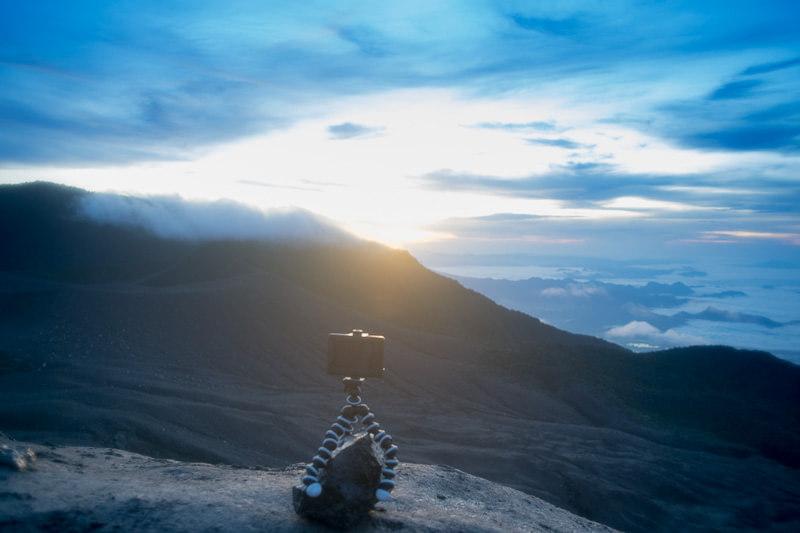 Recording a sunrise time-lapse on top Gunung Marapi