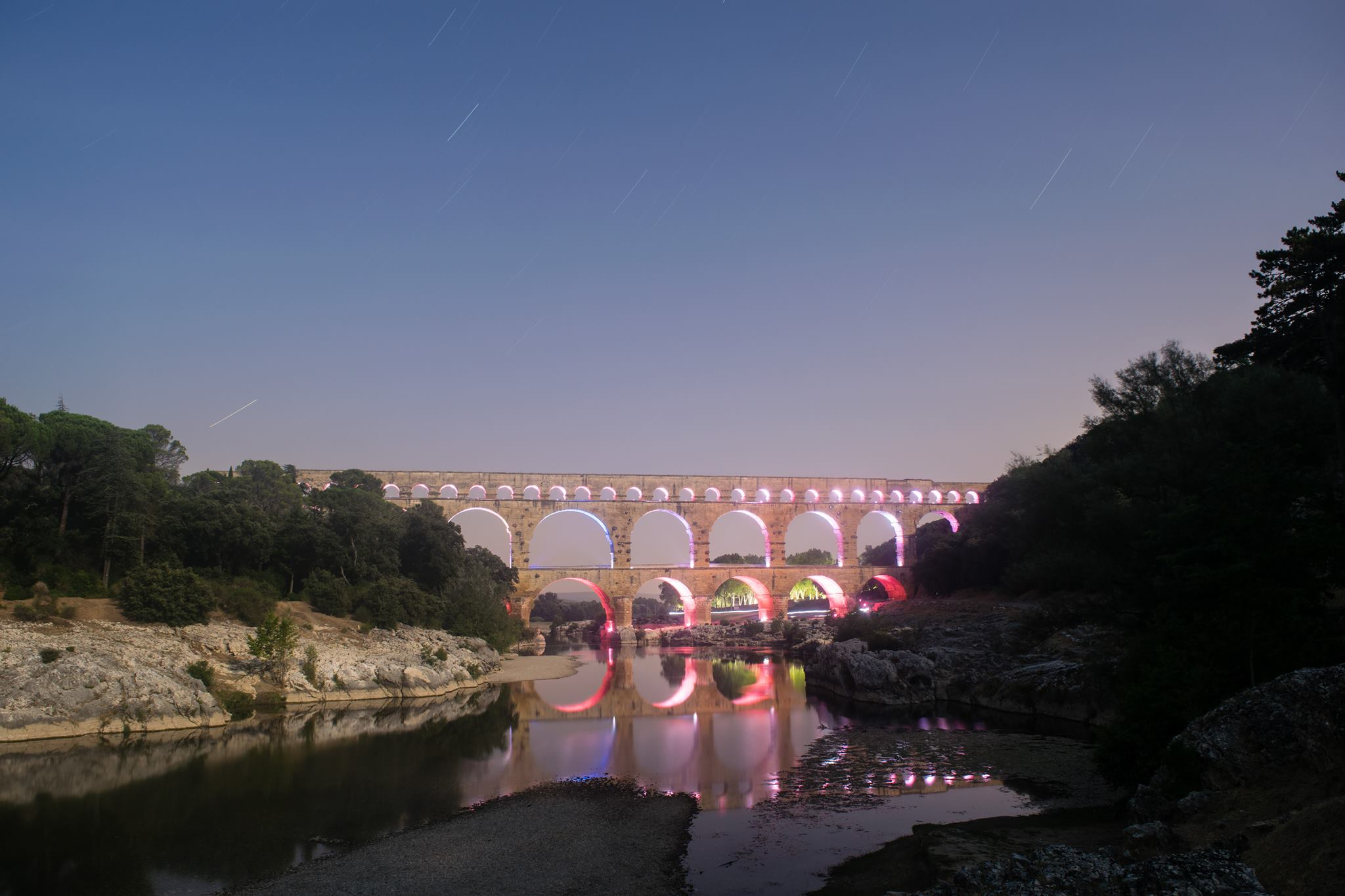I camped (illegally) near Pont Du Gard and was rewarded with this amazing view (long shutter)