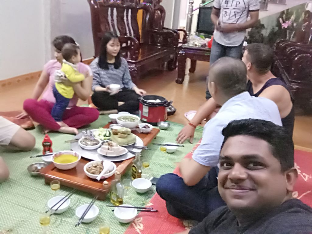 A friendly dinner at one of the families in the village
