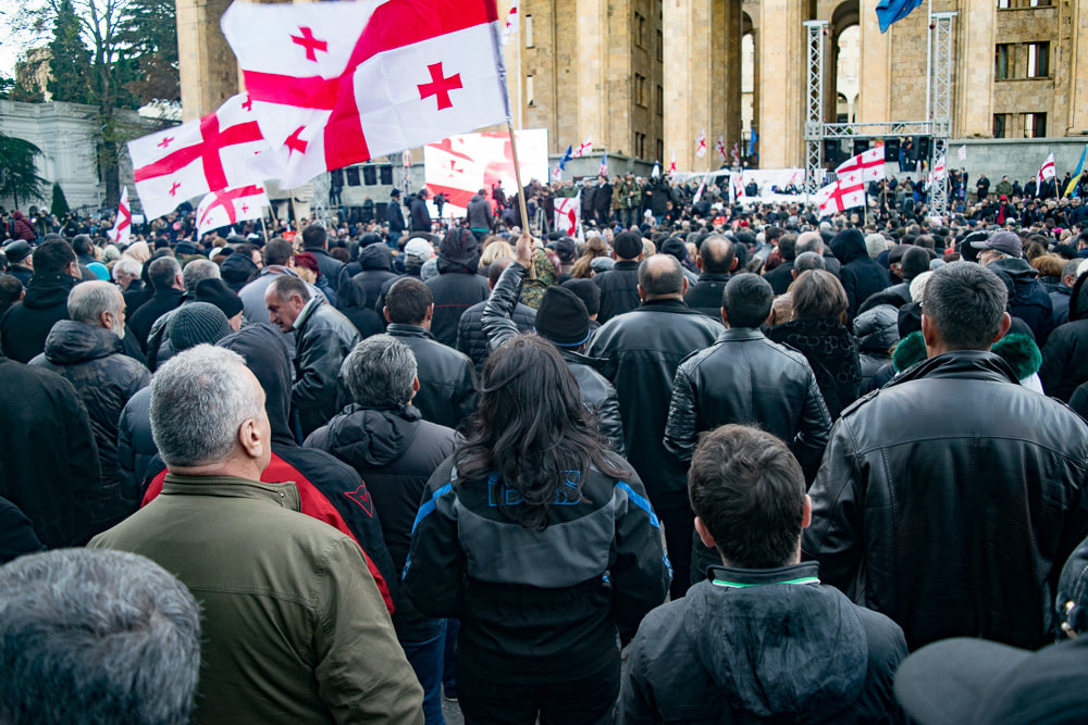 Election day, in front of the Parliament