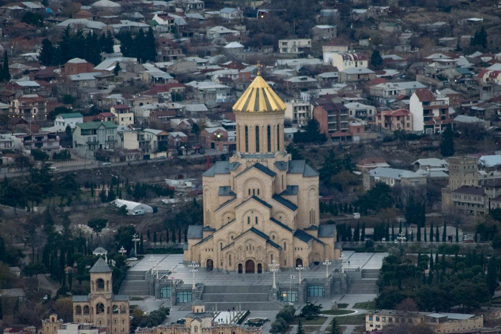The Trinity Church, as seen on top of Mtsminda hill